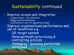 sustainability continued