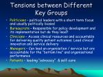tensions between different key groups