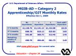 mgib ad category 2 apprenticeship ojt monthly rates effective oct 1 2009