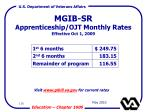 mgib sr apprenticeship ojt monthly rates effective oct 1 2009