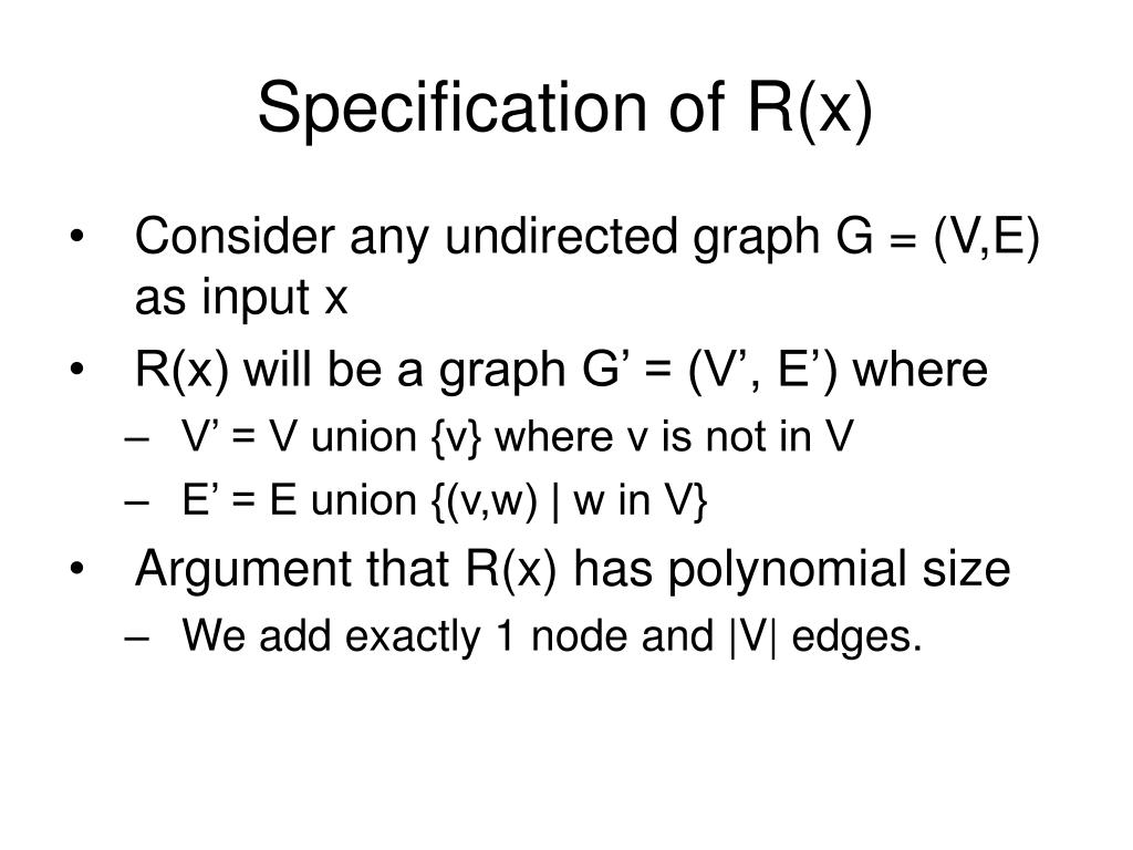 Specification of R(x)