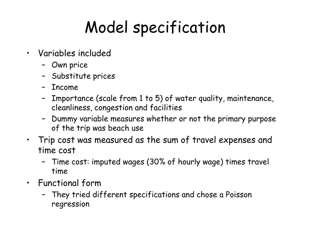 Model specification