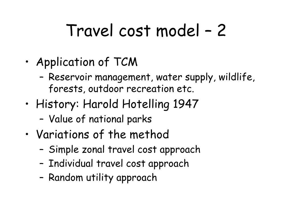 Travel cost model – 2