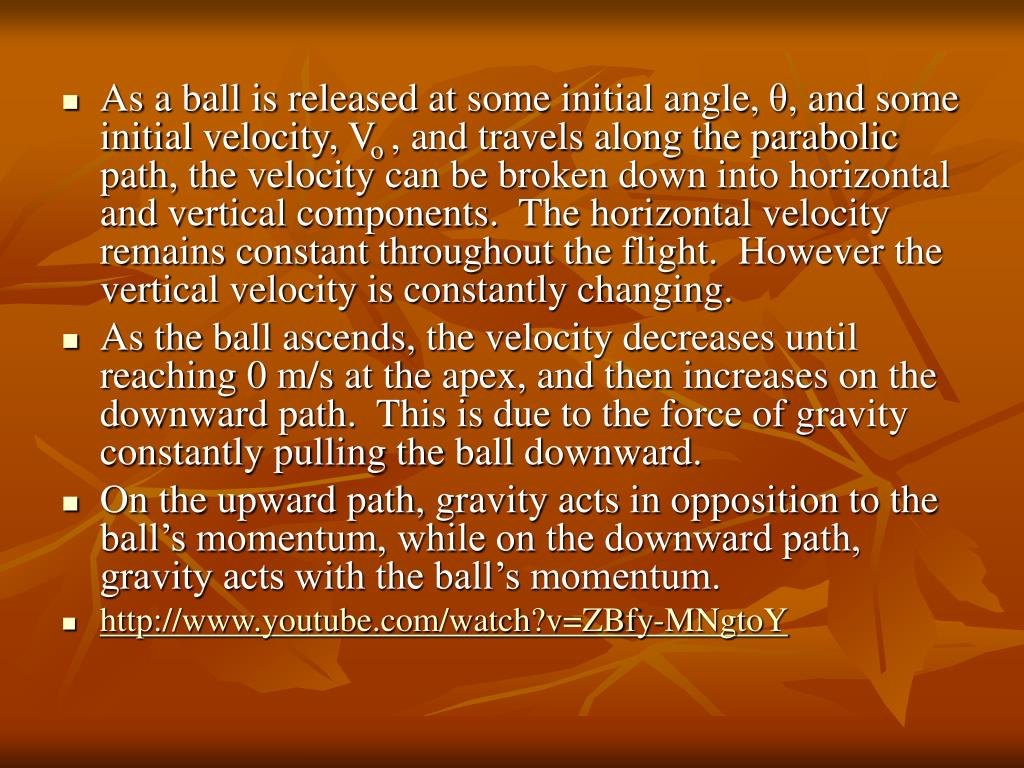 As a ball is released at some initial angle,