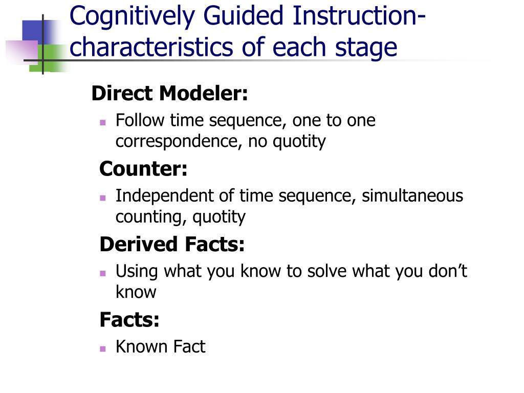 Cognitively Guided Instruction-characteristics of each stage