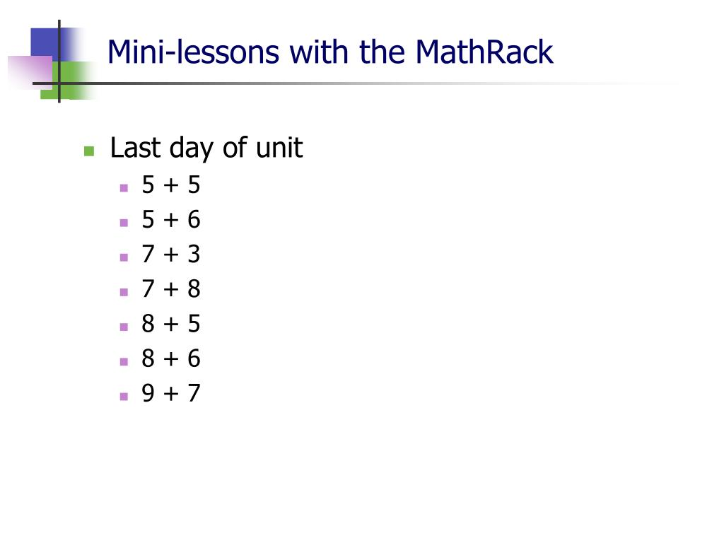 Mini-lessons with the MathRack