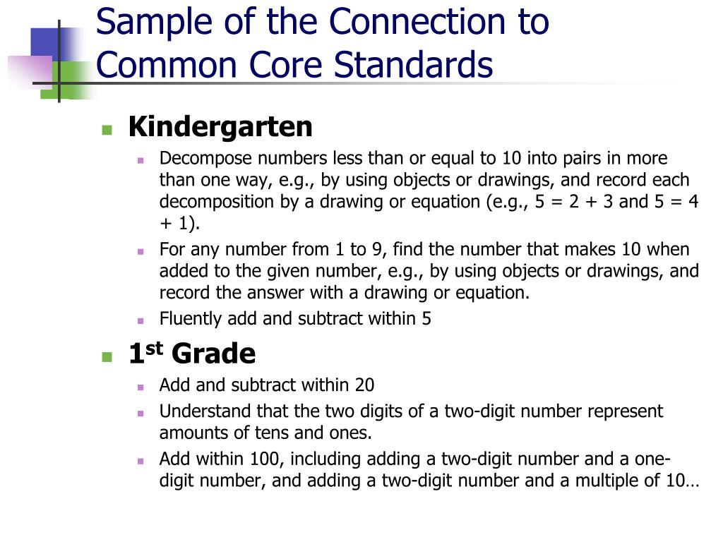 Sample of the Connection to Common Core Standards