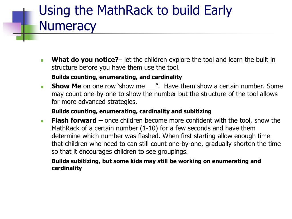 Using the MathRack to build Early Numeracy