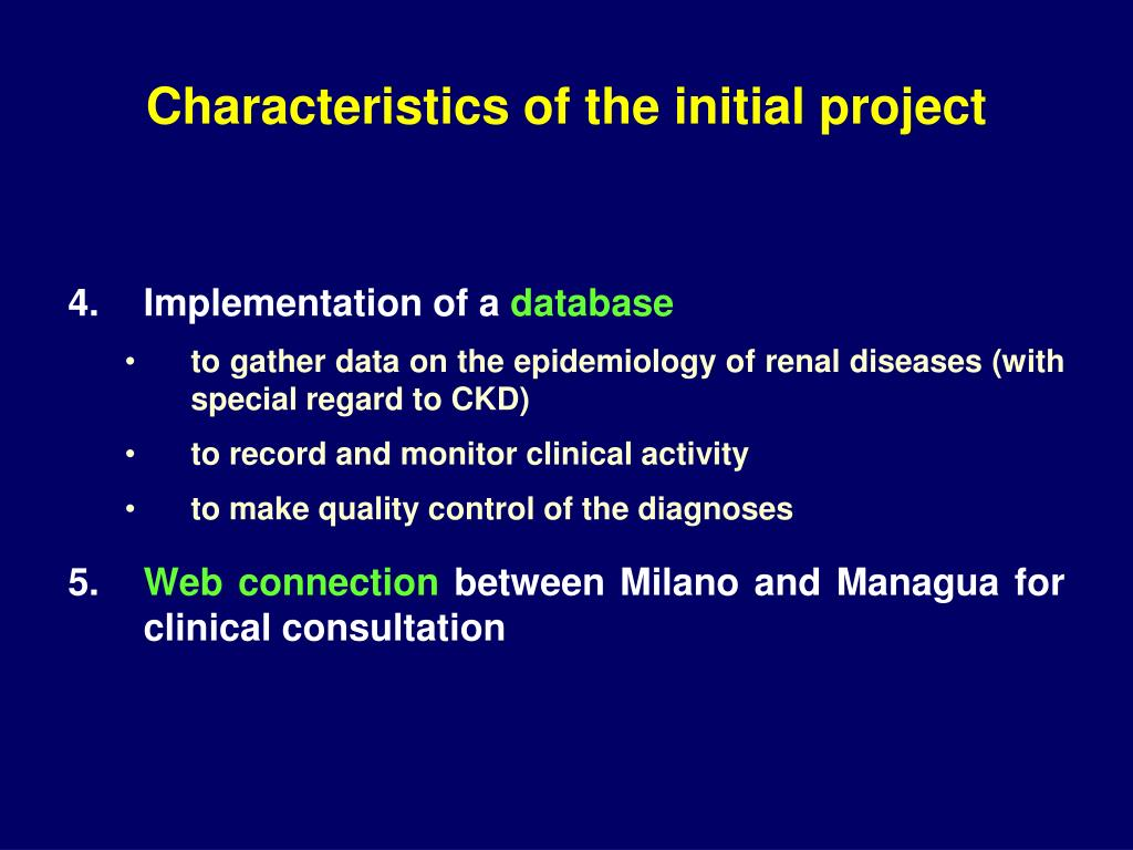 Characteristics of the initial project