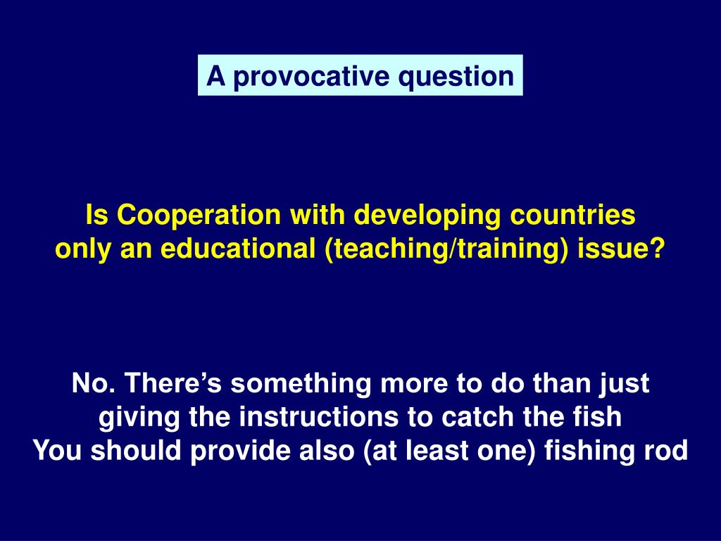 Is Cooperation with developing countries only an educational (teaching/training) issue?