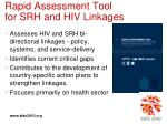 rapid assessment tool for srh and hiv linkages