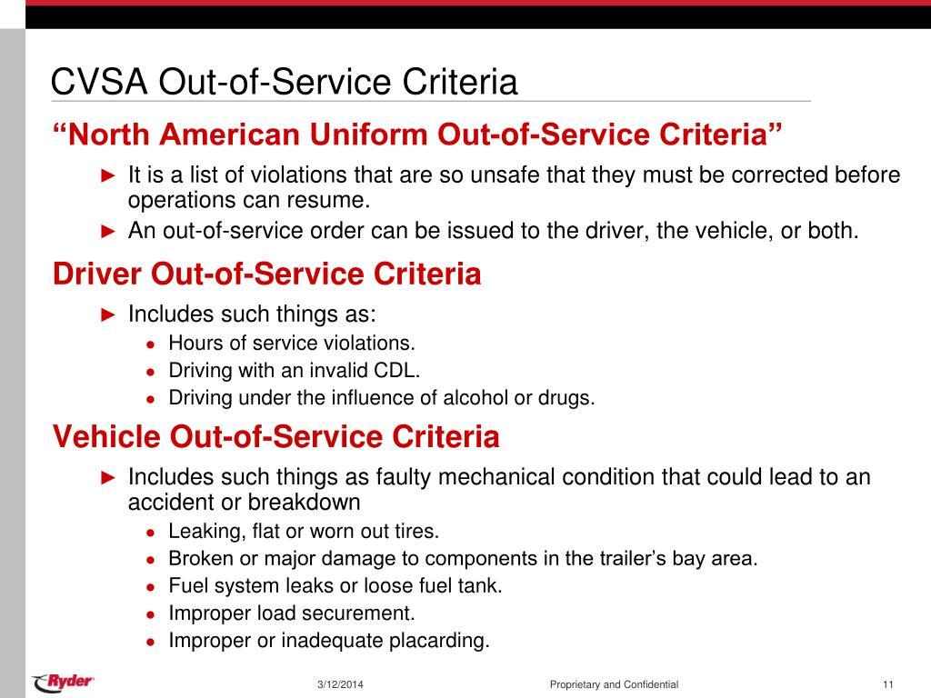 CVSA Out-of-Service Criteria