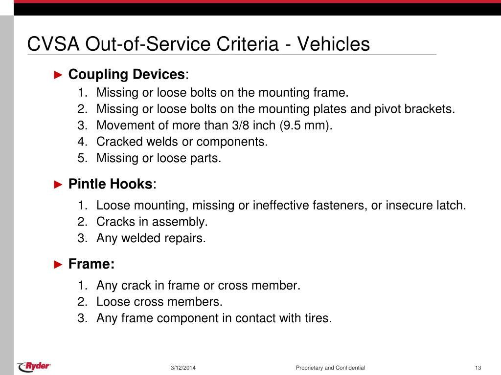 CVSA Out-of-Service Criteria - Vehicles