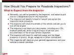 how should you prepare for roadside inspections9