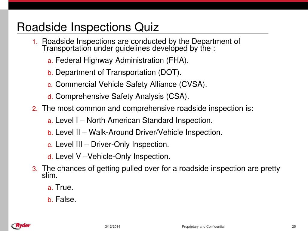 Roadside Inspections Quiz