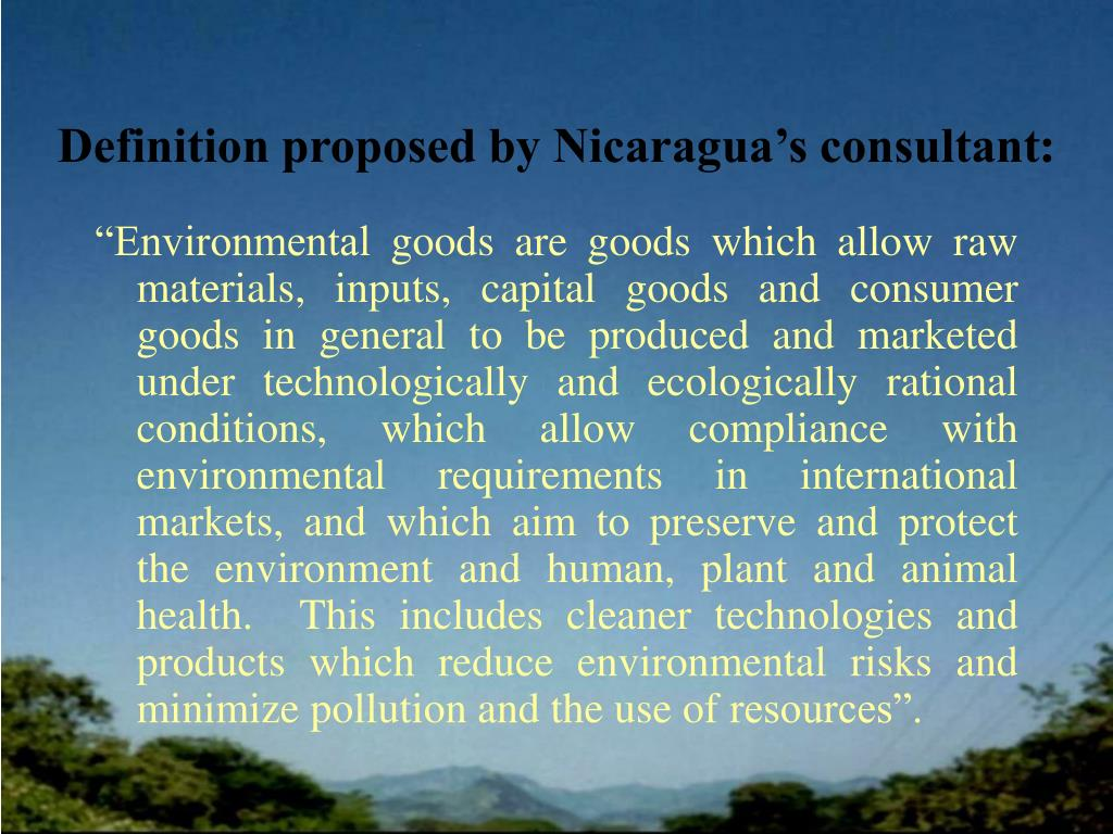Definition proposed by Nicaragua's consultant