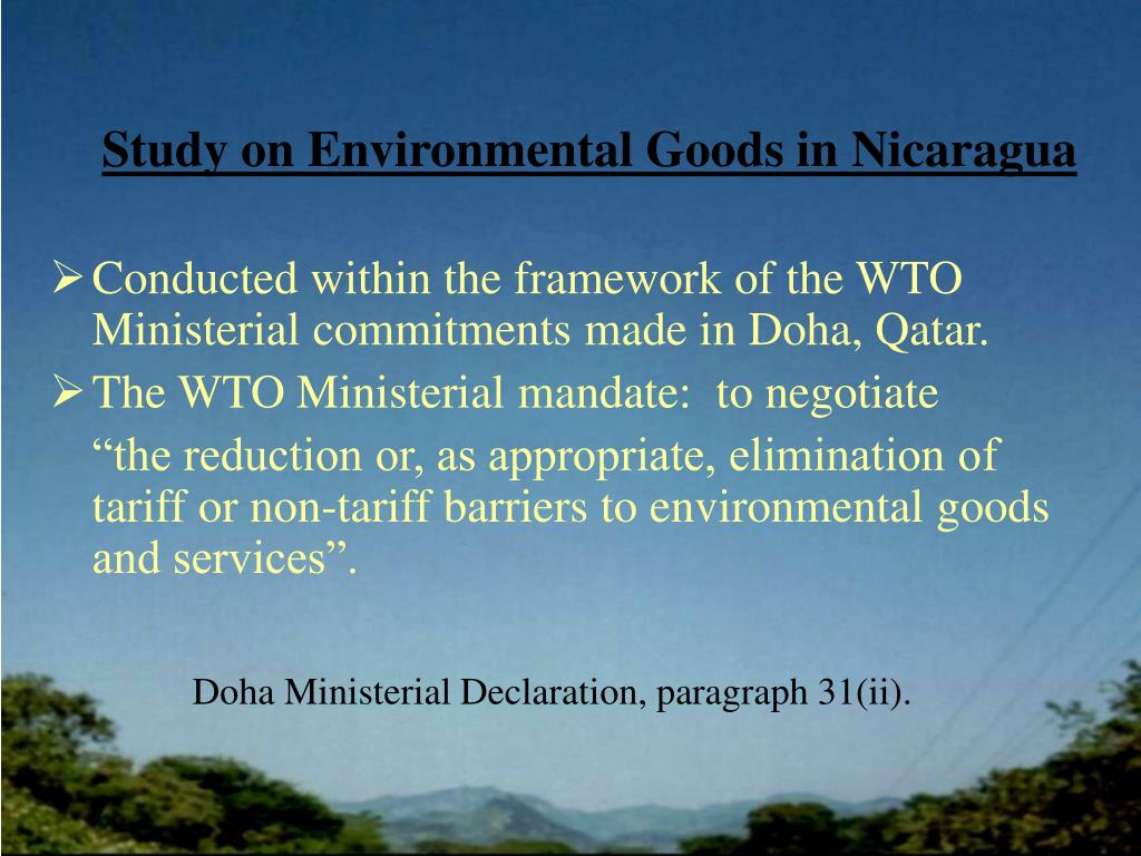 Study on Environmental Goods in Nicaragua
