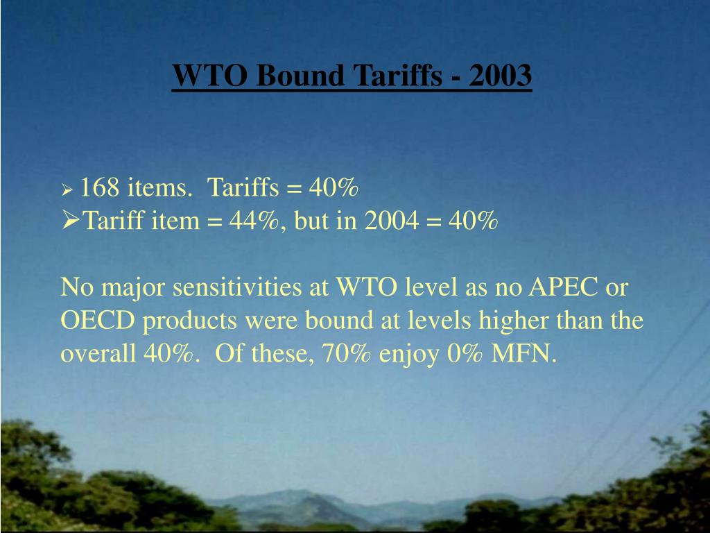 WTO Bound Tariffs - 2003