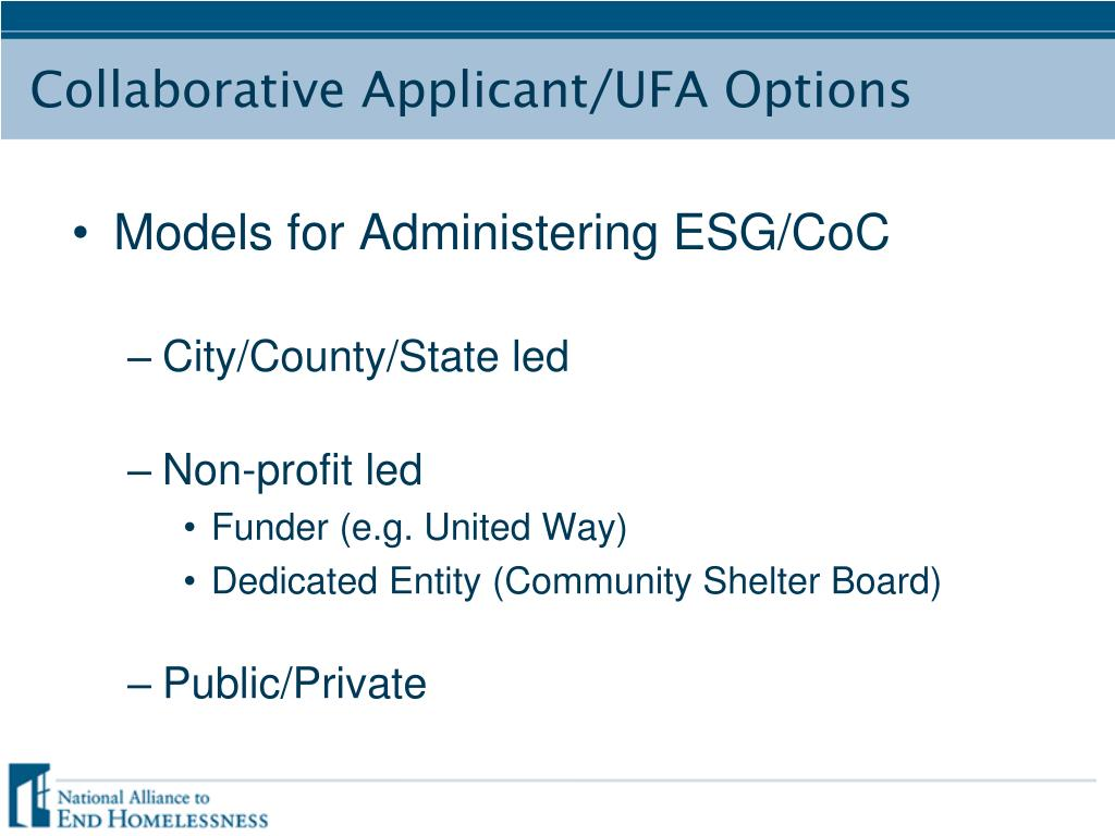 Models for Administering ESG/CoC