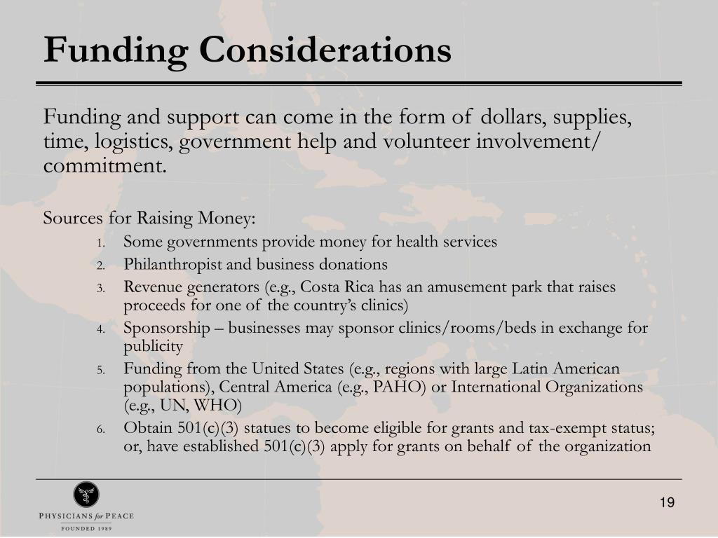 Funding Considerations