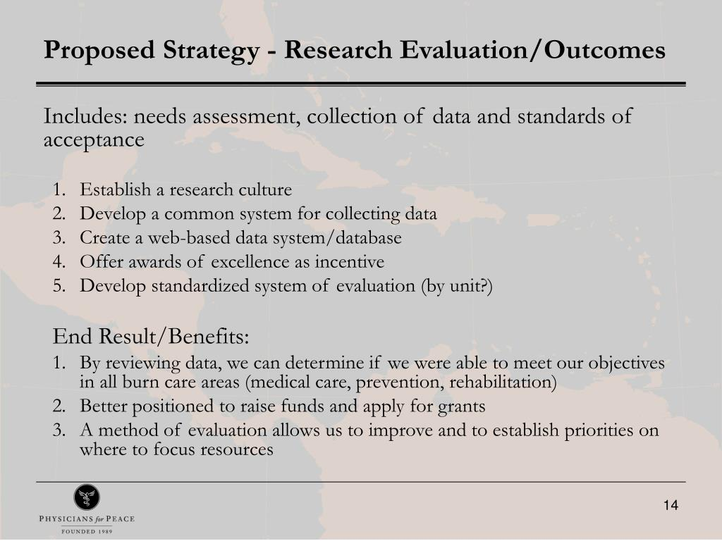 Proposed Strategy - Research Evaluation/Outcomes