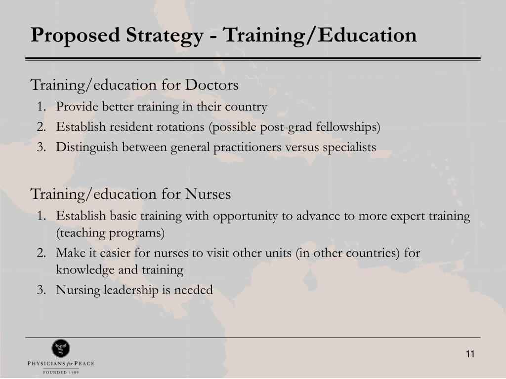 Proposed Strategy - Training/Education