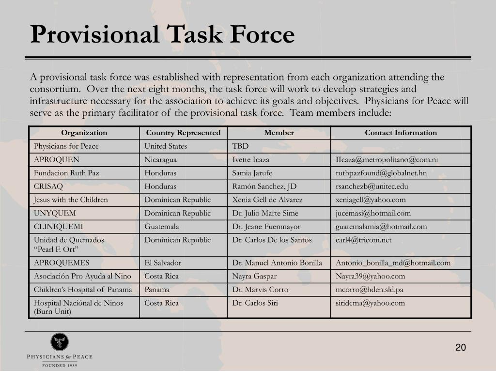 Provisional Task Force