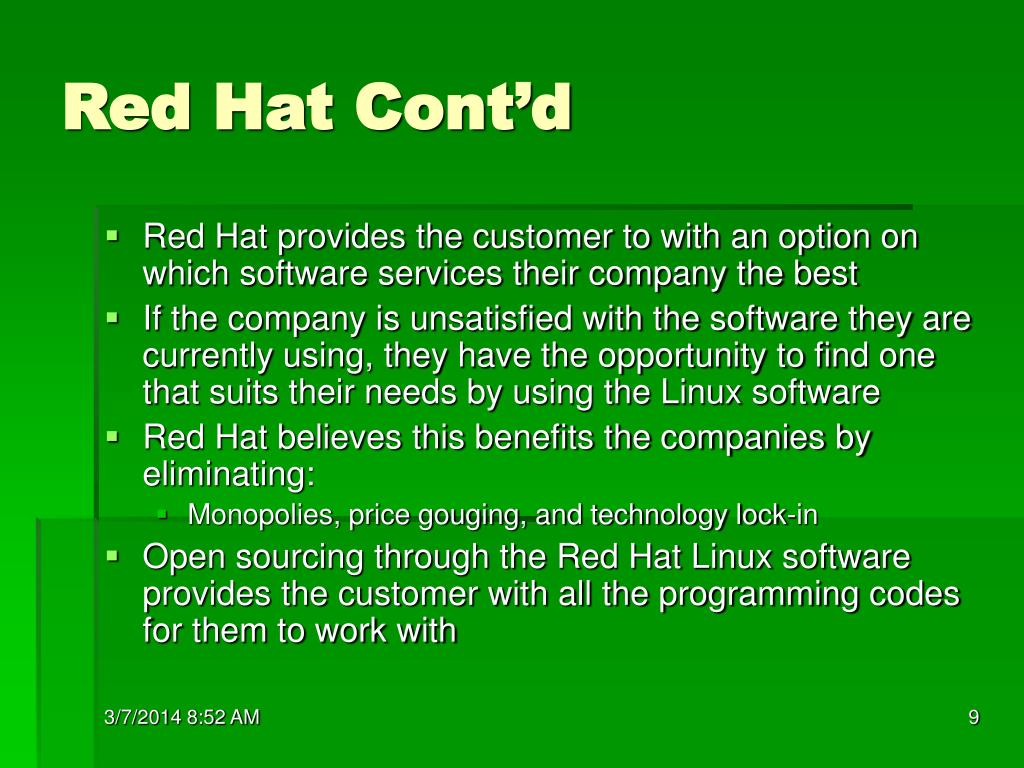 Red Hat Cont'd