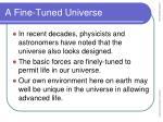 a fine tuned universe