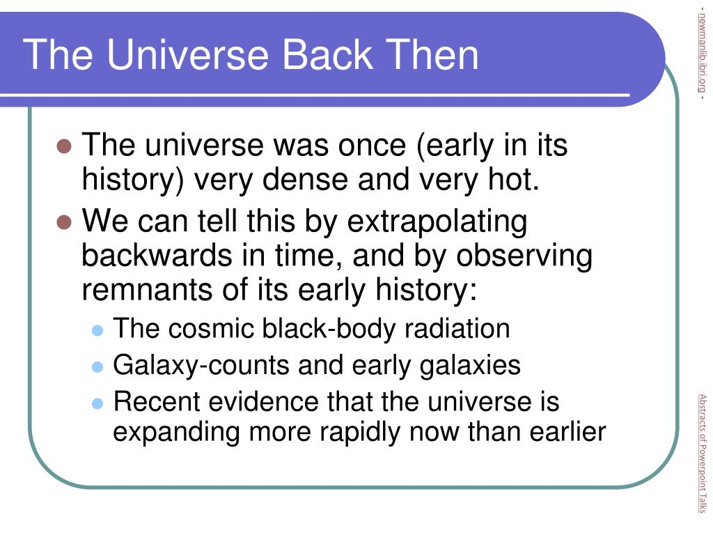 The Universe Back Then