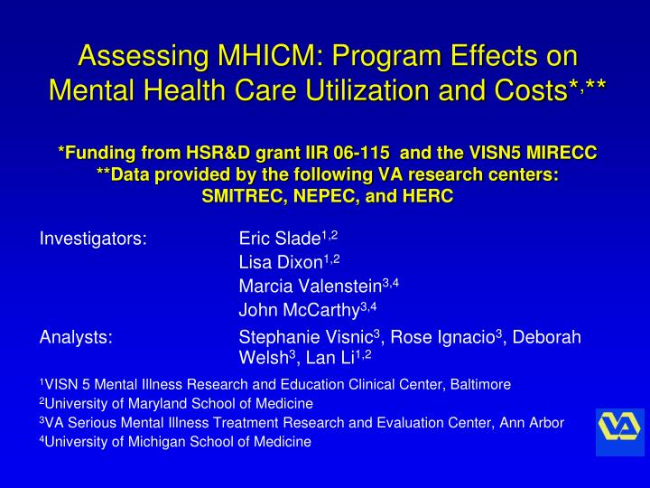 Assessing MHICM: Program Effects on Mental Health Care Utilization and Costs*