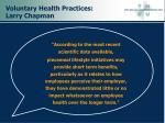 voluntary health practices larry chapman