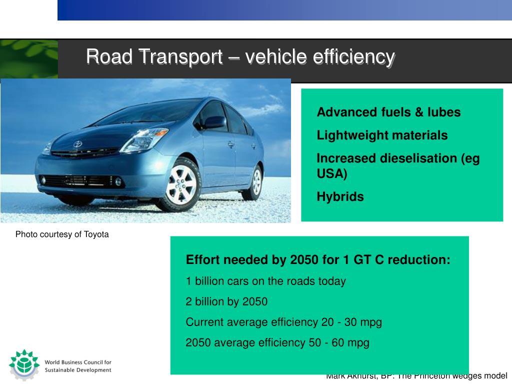 Road Transport – vehicle efficiency