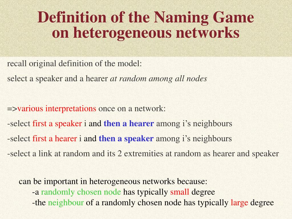 Definition of the Naming Game