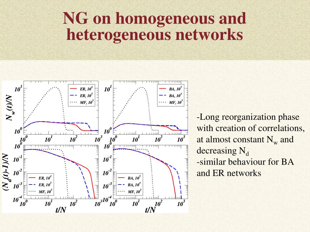 NG on homogeneous and heterogeneous networks