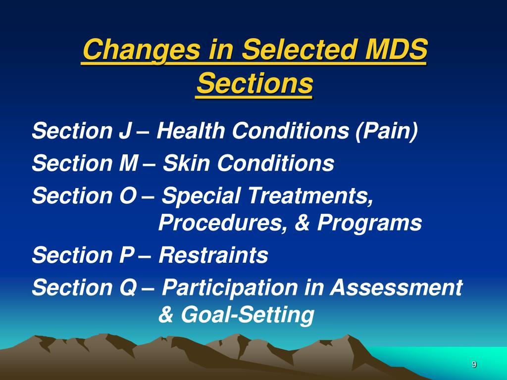 Changes in Selected MDS Sections