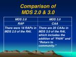 comparison of mds 2 0 3 0