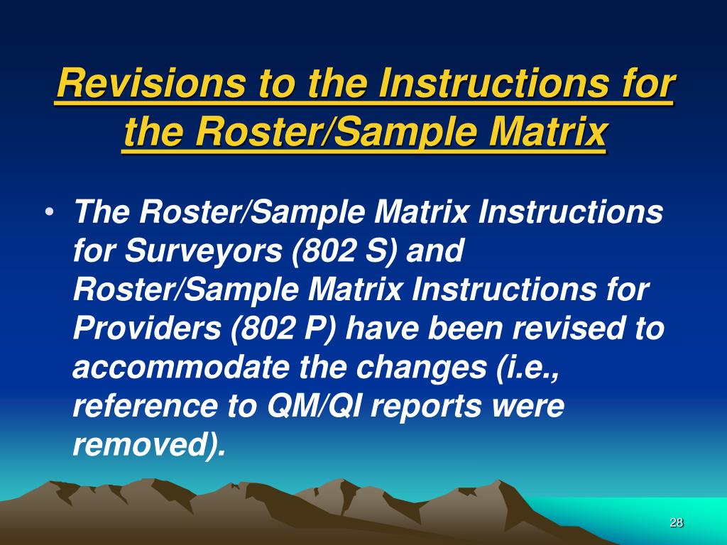 Revisions to the Instructions for the Roster/Sample Matrix