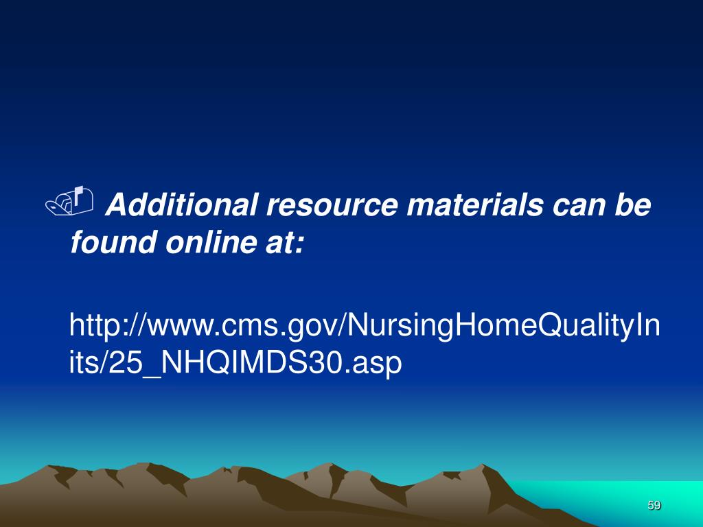 Additional resource materials can be found online at: