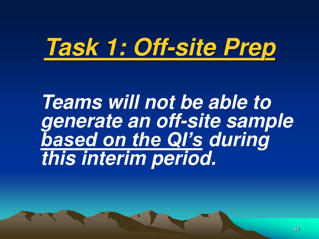 Task 1: Off-site Prep