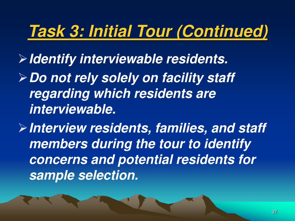 Task 3: Initial Tour (Continued)