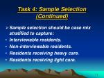 task 4 sample selection continued