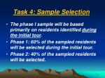 task 4 sample selection