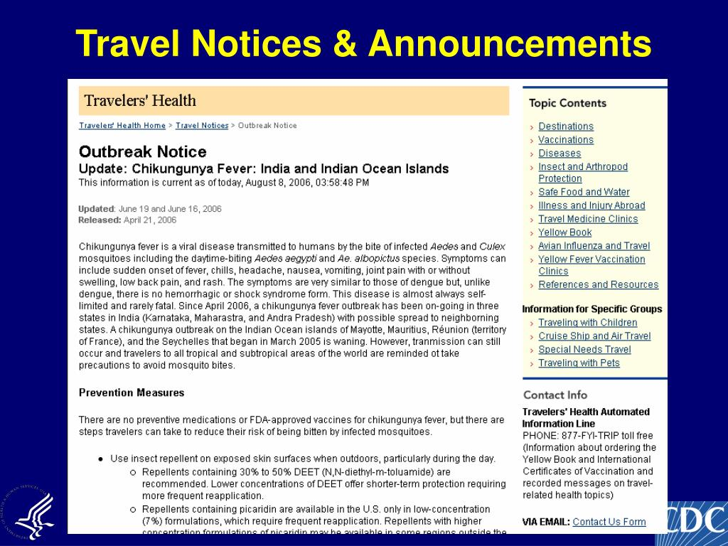 Travel Notices & Announcements