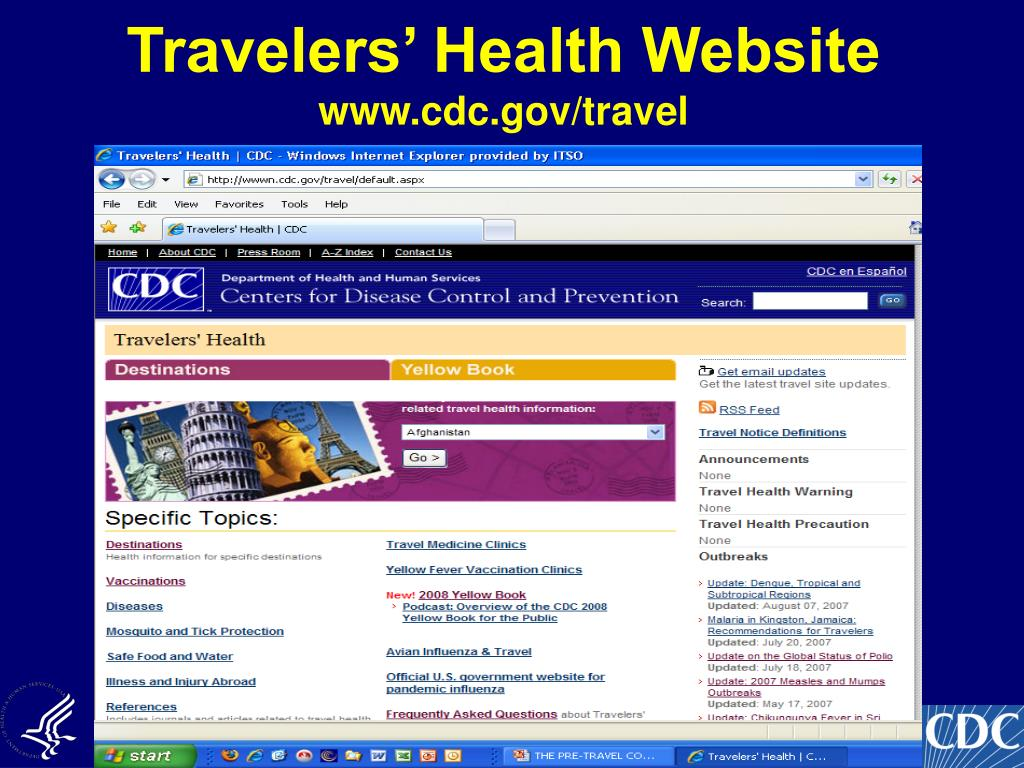 Travelers' Health Website