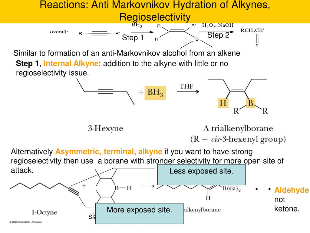 Reactions: Anti Markovnikov Hydration of Alkynes, Regioselectivity