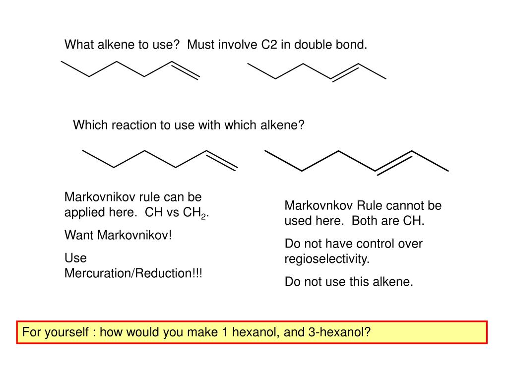 What alkene to use?  Must involve C2 in double bond.