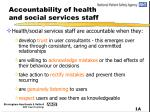 accountability of health and social services staff