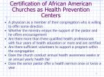 certification of african american churches as health prevention centers