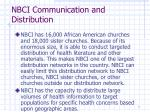 nbci communication and distribution